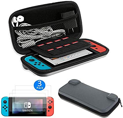 Kit de iniciación 2 en 1 para Nintendo Switch, estuche protector de viaje rígido + 3 protectores de pantalla de cobertura completa HD para Nintendo Switch: Amazon.es: Electrónica