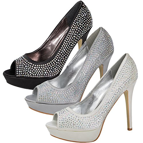 PEEP FULLY LADIES WEDDING NEW COVERED TOE STILETTO PLATFORM 3 SATIN SHOES Black DIAMANTE BRIDAL 8 WOMENS nTTq07gU