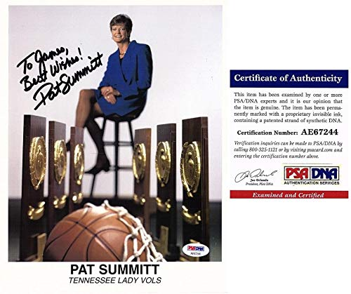(Pat Summitt Autographed Photograph - Lady Vols 8x10 inch Personalized to James Deceased 2016 Certificate of Authenticity COA) - PSA/DNA Certified)
