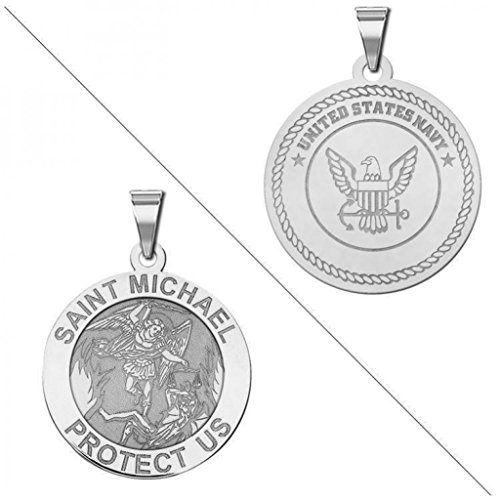 PicturesOnGold.com Saint Michael Doubledside Navy Religious Medal - 3/4 Inch Size of a Nickel - Solid 14K White Gold - Navy Religious Medal