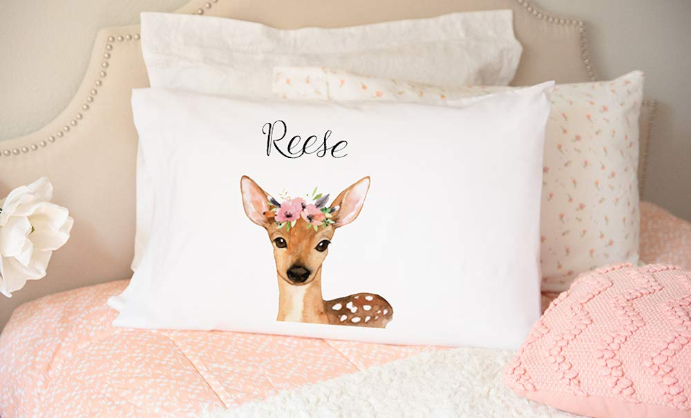 Personalized Woodland Animal Nursery Pillow Cover 21'' x 31'' - Decorative Pillow Case for Nursery Room (for Girls, Deer Reese Design)
