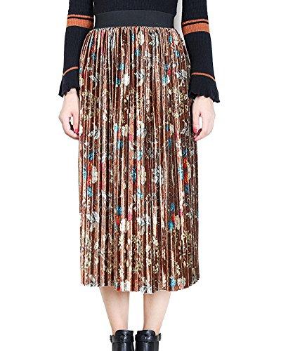 Femme Impression lastique Taille Haute Loisir Jupe Rtro lgant Longue Jupe Plisse Mi Longue Kaki