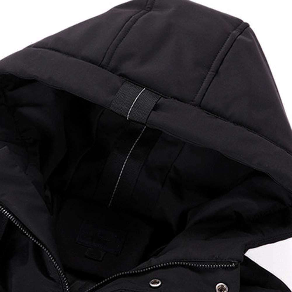 Hattfart Mens Parka Jacket Medium Length Hooded Winter Quilted Jacket Coat Puffer Outwear