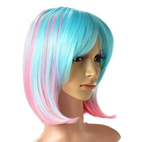 Multi-Color Ombre Short Bob Wig, AGPtEK Shoulder Length Hair Extension With Free Stretchable Hairnet