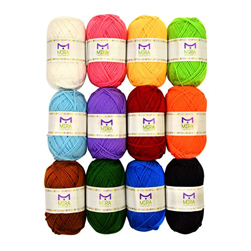 Mira Handcrafts Acrylic 1.76 Ounce(50g) Each Large Yarn Skeins – 12 Multicolor Knitting and Crochet Yarn Bulk – Starter Kit for Colorful Craft - 7 Ebooks with Yarn (Knitting Patterns Alpaca Yarn)