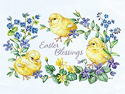 Pack of 4 Easter Ducklings Mini Medici Happy Easter Greeting Cards In Same Design