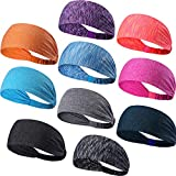 10PACK Wide Yoga Headbands - Breathable Mesh Elastic Sport Sweatband Running Cycling Fitness and Athletic Workouts Fashion Hair Band