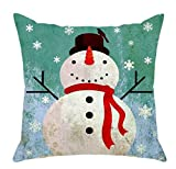 LAZAMYASA Christmas Snowman Cushion Cover Case Pillow Custom Zippered Square Pillowcase 18x18