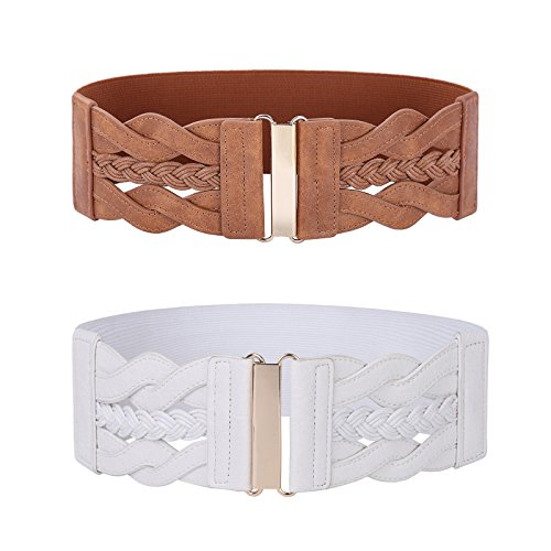 Women's Vintage Belt Retro Wide Elastic Stretch Belt(Brown and White,X-Large)