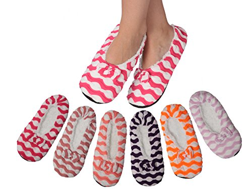 Active Slip - Active Club Women's Fuzzy Warm & Cozy Feet Slippers Non-Slip Lined, 4 Pack 26603, 9-11