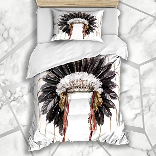 Ahawoso Duvet Cover Sets Twin 68X86 Black Chief War Bonnet Watercolor American Headdress Vintage America Artistic Cherokee Microfiber Bedding with 1 Pillow Shams ()