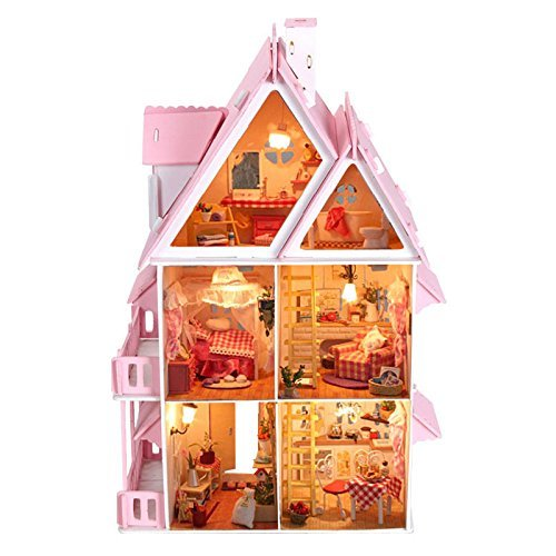 17 Wooden Dream Dollhouse 6 Rooms with Furnitures Lights DIY Kits Miniature Doll House Great for Gift by Dowonsol