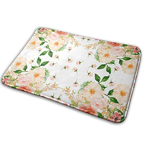 Floral Delight Bedroom - SYHF3 Floral Peach Delight Mat for Rug Indoor/Outdoor/Front Door/Bathroom Mats/Bedroom Doormat