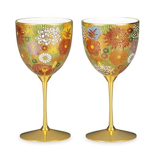 Japanese drawn Ceramic Porcelain kutani ware. 2 wine cups. Gold flower. Japanese ceramic Hagiyakiya 710 kuta-kuta-shuk-415