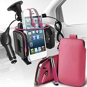 Nokia Lumia 720 premium protección PU ficha de extracción Slip In Pouch Pocket Cordón piel con lápiz óptico retráctil, Jack de 3,5 mm auriculares auriculares auriculares, cargador de coche USB Micro 12v y soporte universal de la succión del parabrisas del coche Vent Cuna Baby Pink por Spyrox