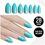 Tip Beauty Gold Turquoise Nail Kit, Turkish Delight, Faux Nails for Women, Fake Nails for Kids, Glue on Nails, Instant Nails for Ladies, Professional Nail Tips, False Nails with Glue - MSRP $18