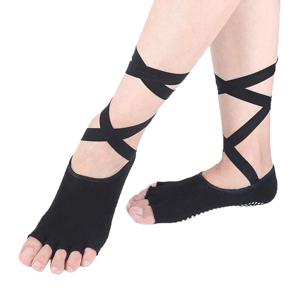 Euone  Insole Socks, Women Ballerina Shoes Toe Non-Slip Ballet Yoga Pilates Barre Dancing Shoes Sock