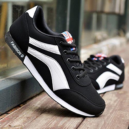 Abby 1608 Mens Sport Chaussures De Sport Lace Up Poids Léger Gym Athletic Running Basketball Noir