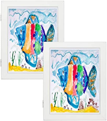 Art Frames for Wall and Tabletop Display with Front Opening for Easy Showcase, Great for Kids Drawings, Artworks, Children Art Projects, Schoolwork, Home or Office (White, 8.5×11 Frame, 2-Pack)