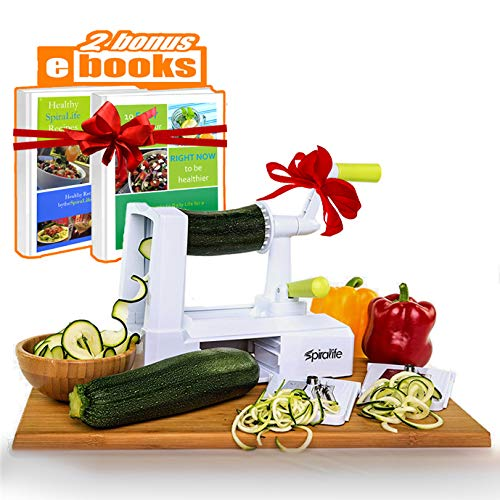 Spiralizer Vegetable Slicer – Zucchini Spaghetti Maker w/Heavy Duty Suction Cup Mount & 30-Spike Ergonomic Crank Handle – BONUS Vegetable Spiralizer Cookbook Ebook – Perfect for Low Carb & Paleo Diet from Lifestyle Dynamics