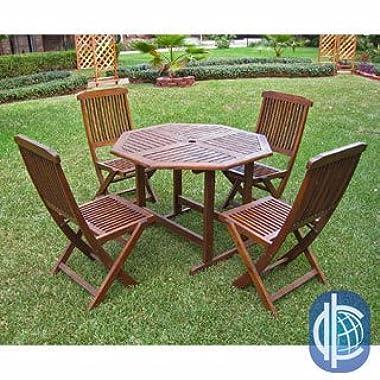 International Caravan Acacia 5-piece Stowaway Patio Furniture Set