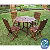 Cheap International Caravan Acacia 5-piece Stowaway Patio Furniture Set