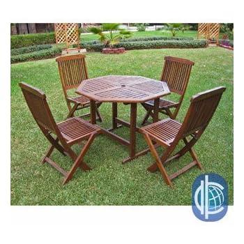 This Item International Caravan Acacia 5 Piece Stowaway Patio Furniture Set
