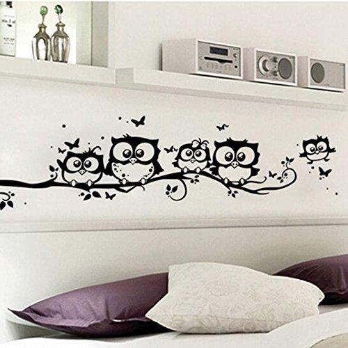 Realdo 5525CM Owl Wall Sticker, Kids Vinyl Art Cartoon Owl Butterfly Wall Sticker Decor Home Decal