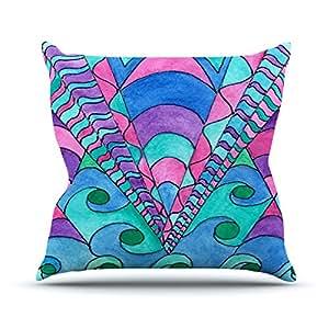 """KESS inhouse rb1035aop0318x 45,7""""Rosie Brown Gatsby Inspirado en azul y rosa"""" Cojín Manta de exterior, multicolor"""