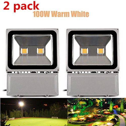 Richday 2pcs LED Flood Light 100W Super Bright Outdoor Lighting Waterproof 85-265V Security lights 3000K - 3500K Warm white Floodlight by Richday