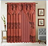 MK Home 4 Pc Embroidered Curtain Set Lily Flower Brick Rod Pocket Window Panel With Backing & Attached Valance & Tie Backs Drapes For Living Room/Bedroom 55'' W x 84'' L New # Alexa Brick