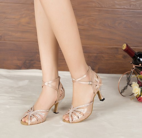 Miyoopark ,  Damen Tanzschuhe , beige - Nude-7.5cm heel - Größe: 35