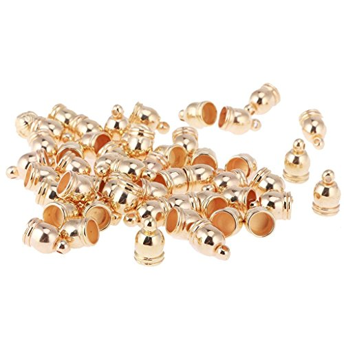 BARGAIN HOUSE Bell End Tip Bead Caps Bell Shaped End Caps Jewelry Charming Beads For Making Findings 50 Pieces Rose Gold ()