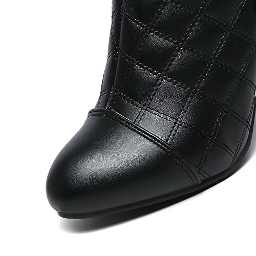High Zipper Toe PU Solid Boots Closed Heels Pointed Allhqfashion Black Women's qBEw11