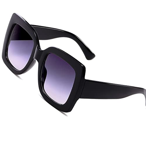 0e4c64a35 Eyerno Oversized Square Sunglasses for Women Fashion Designer Shades(Black)