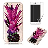 For iphone 6 Plus/6S Plus Case with Pattern Purple Pineapple,OYIME Glitter Bling Design Ultra Thin Slim Fit Protective Back Cover Soft Silicone Rubber Shell Drop Protection Anti-Scratch Transparent Bumper and Screen Protector