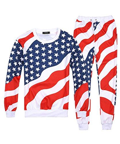 (Mimi pope Unisex USA Flag Printed 2PCS Hooded Sweatshirt Sweatpants Pullover Tracksuit)