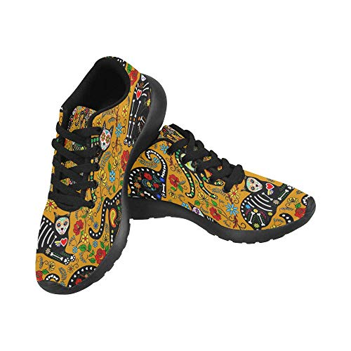 InterestPrint Women's Running Shoes Lightweight Non-Slip Breathable Walking Shoes US9 Pattern with Calavera Sugar Skull Black Cats in Mexican -