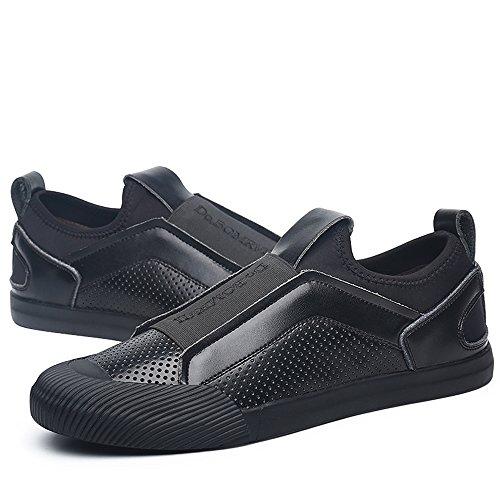VILOCY Herren Atmungsaktiv Leder überstreifen Schuhe Mode Sneaker Halbschuhe Komfort Sport beiläufig Trainers k-Schwarz 41 y4VjEQ