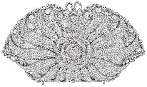 MUUHOO Luxury Crystal Clutch for Women 3D Flower Rhinestone Evening Bag (Silver) ()