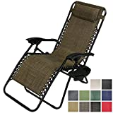 Sunnydaze Brown Outdoor Oversized Zero Gravity Lounge Chair with Pillow and Cup Holder