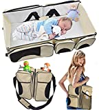 Baby Cot and Change Table Set TinyToes 3 in 1 - Travel Bassinet - Diaper bag - Change Station - (Cream) - Baby Diaper Bag Bed Nappy Infant Carrycot Portable Change Table Portacrib Boy Girl Best Quality Newborn