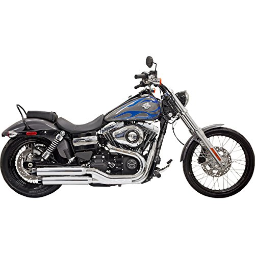 10-17 HARLEY FXDWG: Bassani Xhaust Firepower Slip-On Exhaust With Baffles (Chrome With Black Billet Slash-Cut End Cap And Contrasting Flutes)