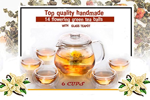 Best-Gift-for-Women-Organic-Flowering-Tea-Gift-Set-Glass-Teapot-with-Infuser-and-Cups-7-Blooming-Flower-Tea-Balls-with-Natural-Flavor