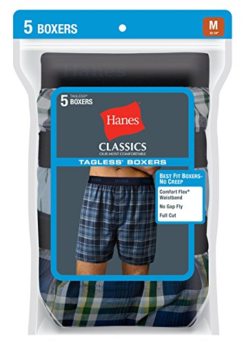 Hanes Men's 5 Pack Ultimate Yarn Dye Exposed Waistband Boxer - Colors May Vary