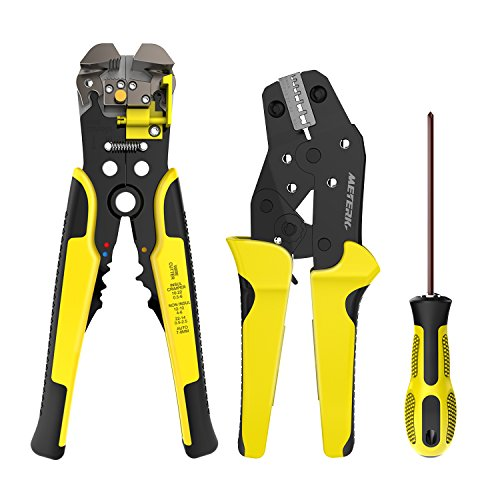 Meterk Wire Stripper and Crimping Tool 0.14-6mm² Adjustable Crimping Range With Carbon Steel + Alloy - 4in Crimping Tool
