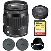 Sigma 18-200mm F3.5-6.3 DC Macro OS HSM Lens for Canon EOS (885-101) with Sigma USB Dock for Canon Lens & Sandisk 32GB Extreme SD Memory Card