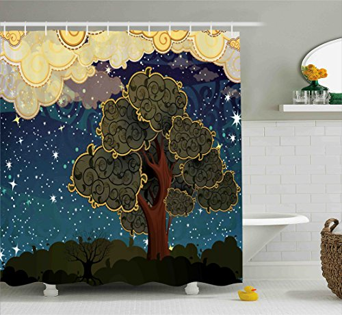 Nature Shower Curtain by Ambesonne, Funk Art Stylized Vibrant Starry Night Sky with Puffy Clouds and Tree Illustration Print, Fabric Bathroom Decor Set with Hooks, 70 Inches, Multi