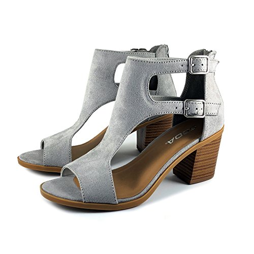 Cutout Toe Open Stacked Soda Buckle Women's Sandal Heel Double Grey EAqqw7