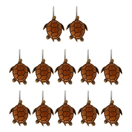 Baoblaze Metal Shower Curtain Hooks Curtain Rings Home Garden Bath Decor (Set 12 Hooks) - Turtle from Baoblaze